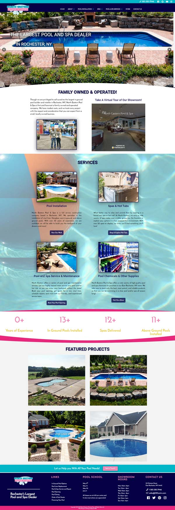 North Eastern Pools & Spas home page screen print