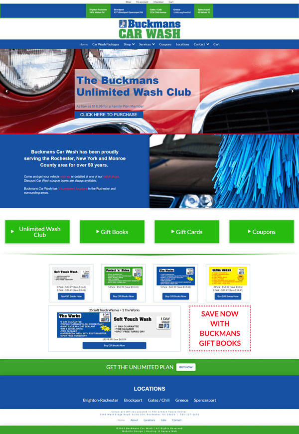 Buckman's Car Wash home page screen print